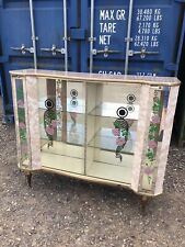 Vintage~Retro Glass Display, Drinks, China Cabinet With Sliding Doors