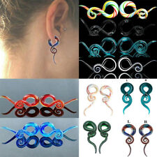 Women Colorful Snail Spiral Glass Hook Taper Ear Plug Earring Expander Stretcher