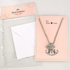 JUICY COUTURE SILVER NECKLACE with Faux CRYSTAL LIPS PENDANT Blank Greeting Card
