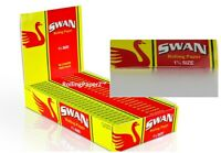 FULL BOX 25 Packs SWAN RED 1 1/4 Size Rice Cigarette Rolling Papers - 50 per pk