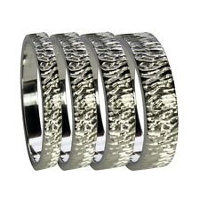 Hand Engraved 9ct White Gold Flat Profile Wedding Rings 3 4 5 6 8mm Grade1 UK HM