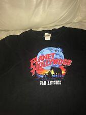 VINTAGE 1991 PLANET HOLLYWOOD SAN ANTONIO BLACK T SHIRT COWBOY WITH HORSE XXL