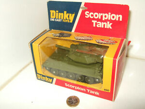 Vintage Dinky 690 Scorpion Tank with firing action & original Dinky Picture Box