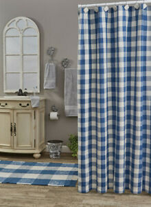 Wicklow China Blue White Check Country Farmhouse Cotton Shower Curtain