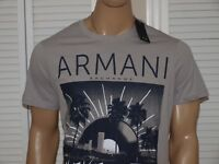 Armani Exchange Authentic Never Stop Partying Logo Slim Fit T shirt Gray NWT