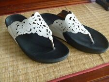 WOMENS FITFLOP WHITE LEATHER SANDALS SHOES TONING SIZE 8 FIT FLOP