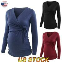 Women V-neck Maternity Tops Long-sleeved Nursing Blouse Pregnant Casual T-shirt