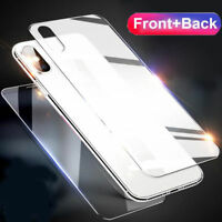 For Apple iPhone XS Max XR Front and Back 9H Tempered Glass Screen Protector #