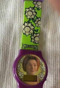 FIONA Watch Shrek 2  Purple Digital Watch Green Floral Band  NON working