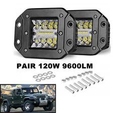 Pair Flush Mount Spot Flood LED Work Light Pods LED SUV UTE Bumper Reverse Lamp