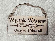 "Harry Potter theme ""Wizards welcome..."" chipboard sign wall hanging decor"