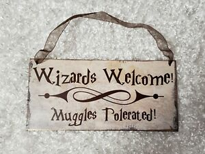 """Harry Potter theme """"Wizards welcome..."""" chipboard sign wall hanging decor"""