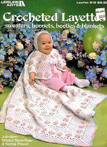 CROCHETED LAYETTES - 1982 Leisure Arts 215 - Sweaters/Bonnets/Booties/Blankets
