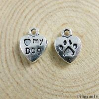 15/30pc Vintage 3D Silver Alloy Love Dog Heart Charms Pendant Crafts Jewelry USA