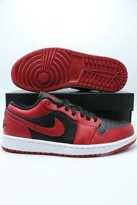Air Jordan 1 Low 'Reverse Bred' Red Black 553558-606 Men & Gs Sizes 4-12