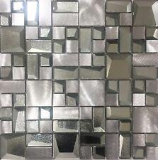 Alaska Silver Glass Metal Mosaic Tile Sheets Bathroom Kitchen Wall
