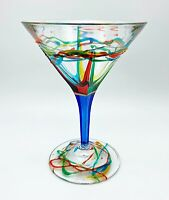 """AMALFI"" MARTINI GLASS - BLUE STEM - HAND PAINTED VENETIAN GLASSWARE"