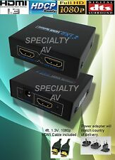 1 in x 2 out HDMI Distribution Amplifier Amp Distributor Splitter 3D HD 1080p