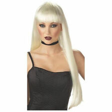 Lady Gaga pop star Womens Long Straight Blonde NOUVEAU GLAM WIG witch Alice New