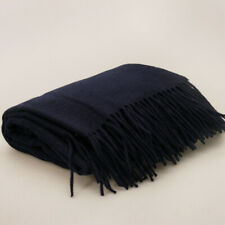 """50x70"""" Navy Blue Wool Cashmere Throw Blanket. Natural, Warm, Soft and Cozy"""