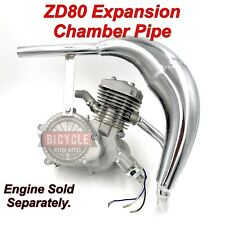 ZD80 (Zeda) Motorized Bicycle Expansion Chamber Pipe - Chrome