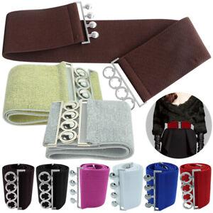 Plus Sizes Ladies Wide Elastic Waist Waistband Corset Silver Buckle Belt Stretch