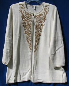 Coldwater Creek Elegant Intarsia Embroidered Duster