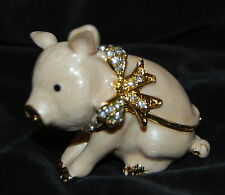 Brand New PRETTY PIG Limoge style enameled & bejeweled trinket box FREE SHIPPING