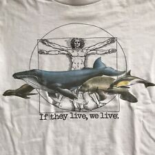 Vtg 90s Ocean Whale Environment If They Live We Live T-shirt L