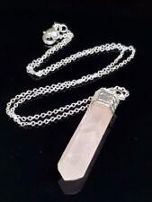 Collares y colgantes de joyería con gemas naturales colgantes cuarzo rosa