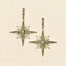 "Boho Statement Earrings Faux Mystic Topaz Gypsy Star Burst Antiqued Gold Tn 2.5"""