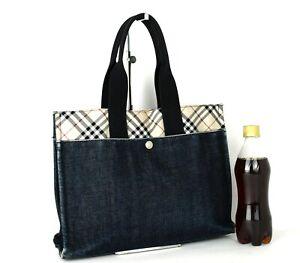 Auth Burberry London Blue Label Nova Check & Navy Denim Tote Hand Bag Purse Used