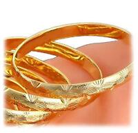 18k Yellow Gold Women's Opulent Starburst Design Bracelet Bangle + GiftPkg D226G