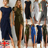 Womens Holiday Lace Up Evening Party Split Loose Pullover Ladies Long Dress