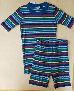 NWT Hanna Andersson BLUE MULTI RAINBOW STRIPE ORGANIC SHORT JOHN Pajamas 130 8