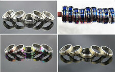 Mix Lots 100pcs stainless steel white gold colorful blue Rotation Fashion rings
