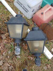 vintage electric Street Lanterns pair set aluminum mid century modern large size