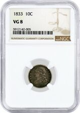 1833 10C Capped Bust Dime Silver NGC VG8 Very Good Circulated Coin