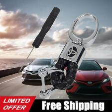 Black Calf Leather Alloy Toyota Logo Emblem Keychain Decoration Gift Accessories
