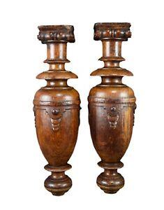 Antique Architectural Pair Carved Wood Corinthian Trim Posts Pillars Column