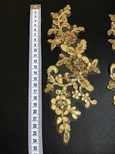 2x Gold Floral Motif Sequins Applique Sewing Craft Venise Lace Trim Buy3Get1Free