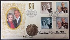 Benham 1997 Royal Golden Wedding FDC Signed PAMELA MOUNTBATTEN, 1997 UK £5 coin