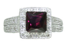 1.65ct CT Granate Rhodolite Y Diamante Anillo en 10 Quilates Oro Blanco