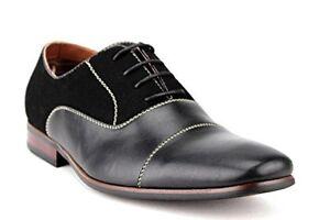 New Mens Cap Toe Suede Blend Black Or Brown Dress Shoes Lace Up Ferro Aldo 19506