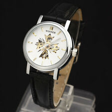 Women Classic Skeleton Winner Leather Strap Automatic Mechanical Dress Watch A2
