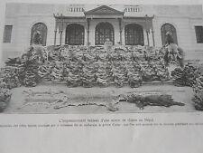 Tableau d'une saison de chasse au Népal dépouilles bêtes fauves Image Print 1925
