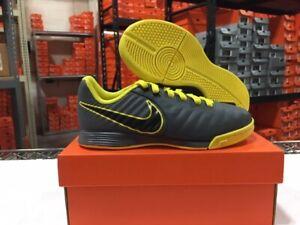 Nike Junior Legend 7 Academy IC Soccer Shoes (Grey/Black/Yellow) Sz: 11k-6y NEW!