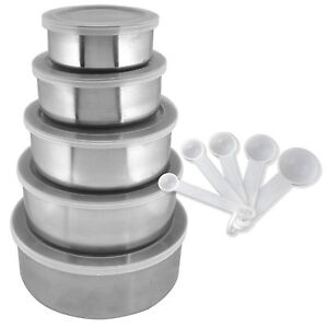 15PC Stackable Stainless Steel Bowls with Lid Food Storage Kitchen Spoons Set