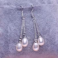 5-6mm weißes Süßwasser Perle baumeln Ohrringe