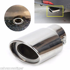 Car Exhaust Tail Throat Muffler Tip Pipe Silver Chrome Round Fit 1.8-2.2 T1/2